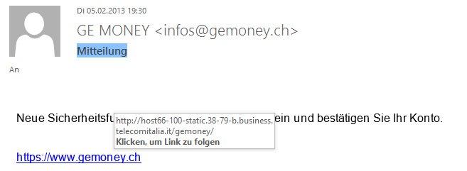 Spammail GE MONEY