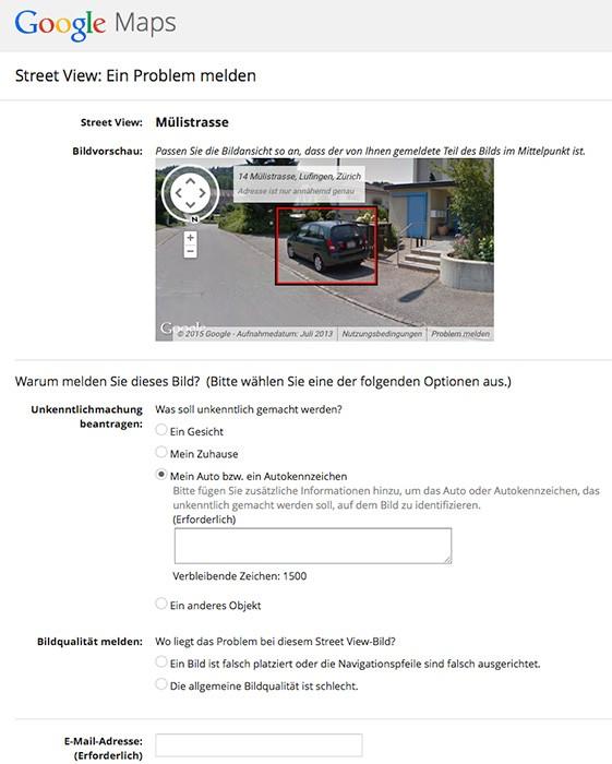 Antrag - Objekt in Google Street View unkenntlich machen
